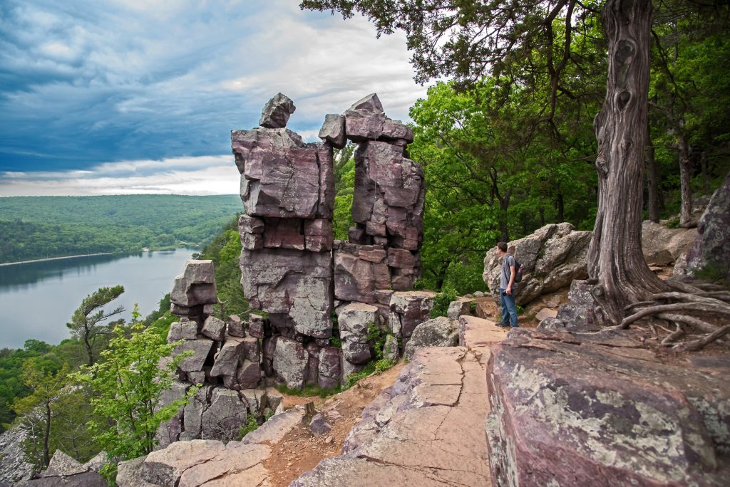 One of the most beloved places to go hiking near Chicago - Devil's Lake State Park.