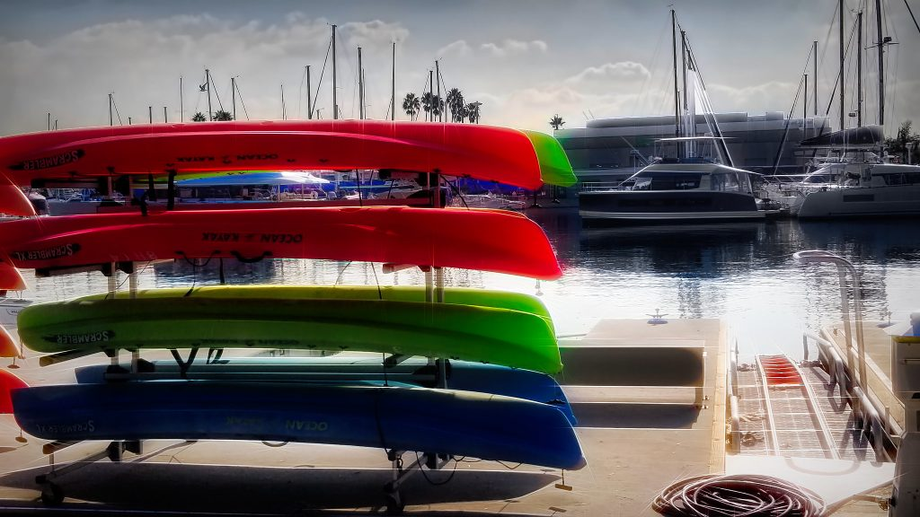 A stack of canoes is ready for rent at many of Los Angeles' marinas!