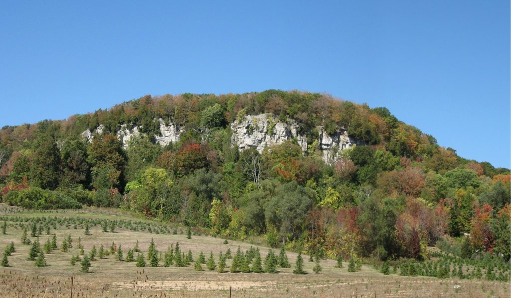 Large rocky cliff juts out of a field with green and red trees - hiking near Toronto