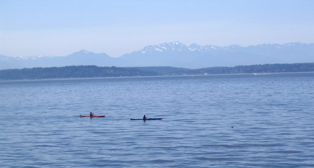 Paddlers kayak in Seattle's hazy blue waters with mountains and a tree-lined coastline in the distance.