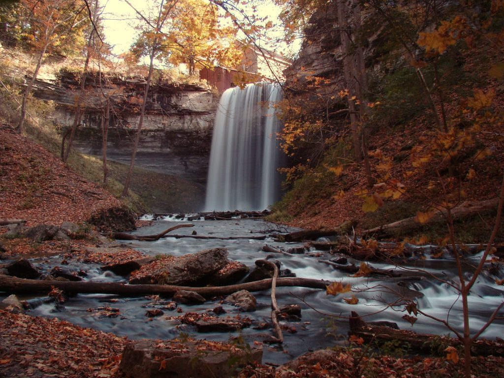 Long exposure view of DeCew Falls trail in the fall - hiking in and near Toronto, ON