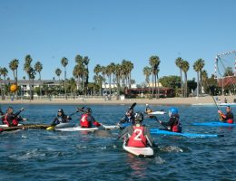 A group of kayakers huddle uo near the sandy shores of Marina Del Ray. With beaches and wildlife, Marina Del Ray is one of the most accessible places to kayak in Los Angeles.
