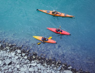 Beginners learning to kayak can stay near the coast like this, and see the beauty when land meets sea.