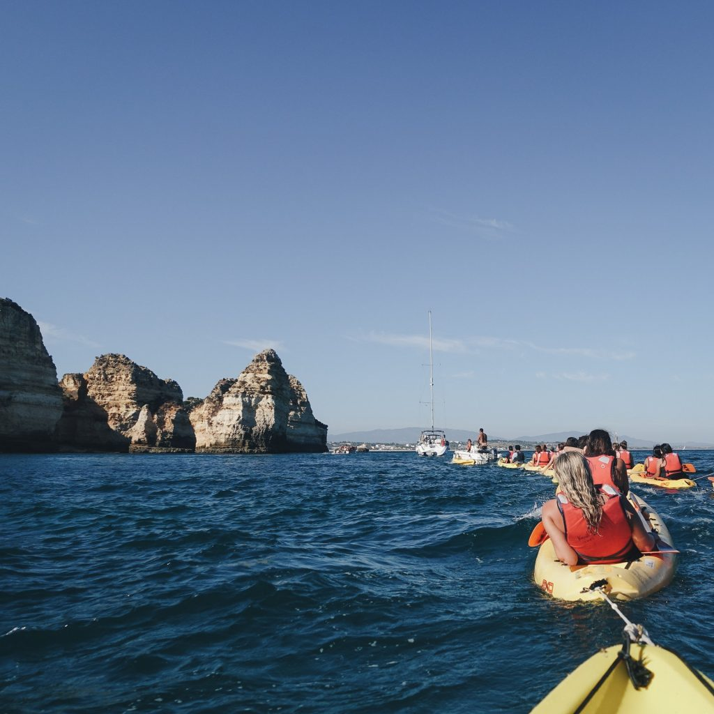 You can try kayaking this Summer to explore beautiful geologic formations like these rock islands in the ocean!