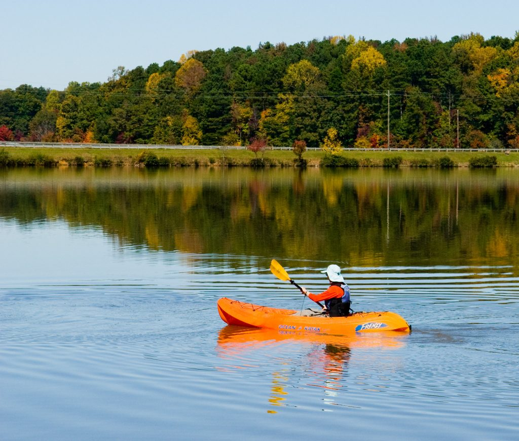 Kayakers love paddling around the flat waters of Sweetwater Creek State Park.
