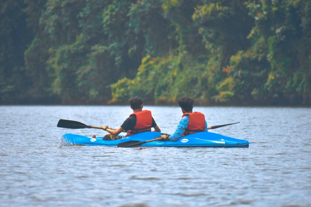 a family enjoys kayaking in Miami and takes in the cypress forests in the distance.