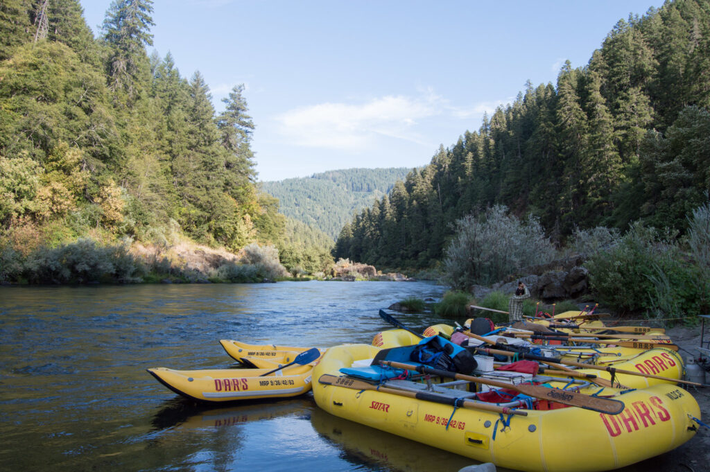 Rogue River is a wonderful place for float trips and paddle trips surrounded by beautiful green forests.