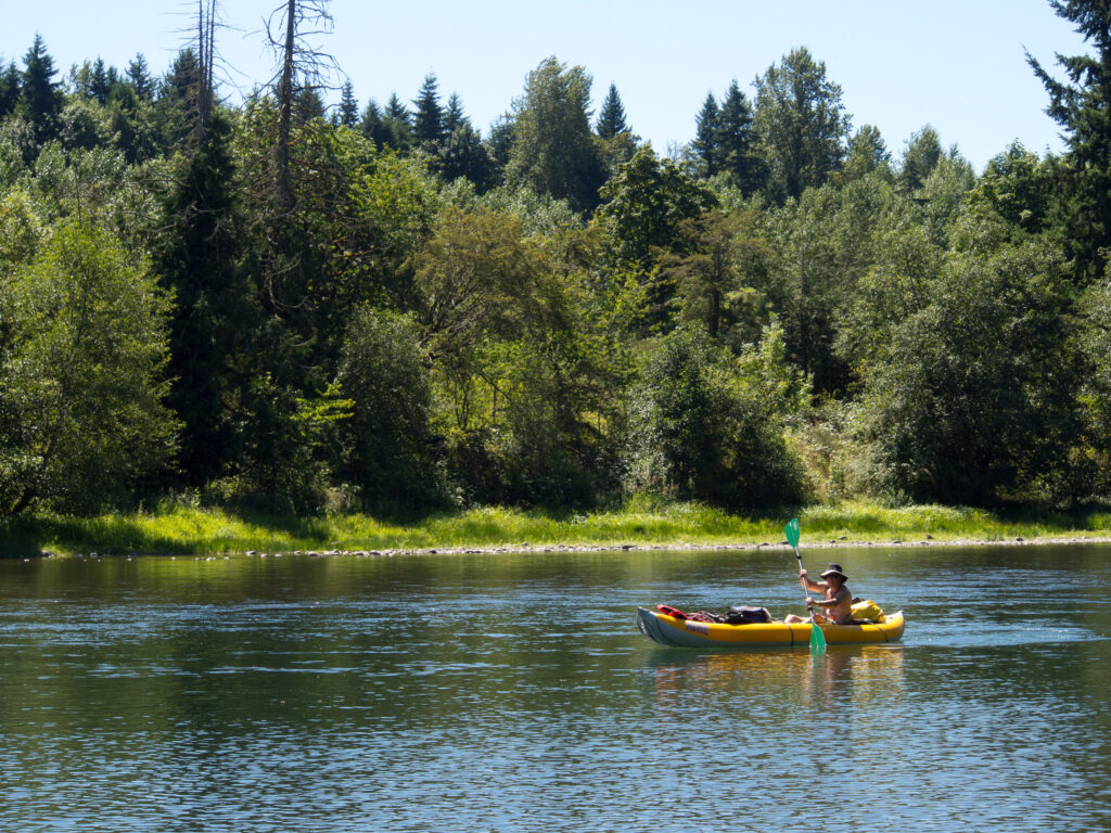 kayaking in Portland's Clackamas River is super relaxing and open to all ability levels.