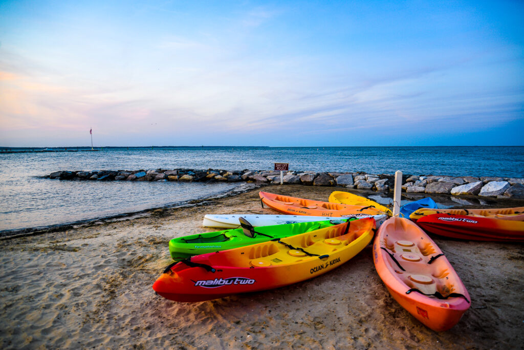 kayaks line the shores of Maryland,  which is a great place to go paddling
