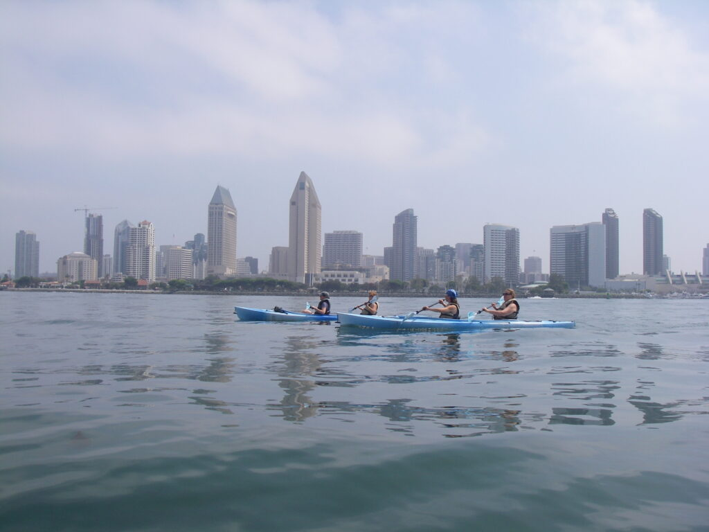 kayaking in san diego provides great views of the city skyline