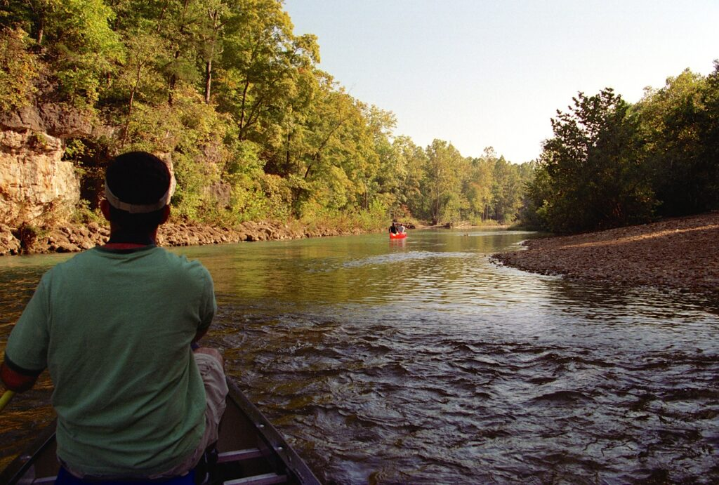 tree-lined shores and misty waters are in the Ozarks where you can go canoeing and kayaking in St. Louis