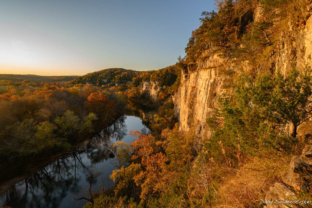 beautiful limestone bluffs overlook the meramec river, a wonderful place to go canoeing and kayaking in st. Louis