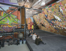 The snazzy paintwork in Brooklyn Boulder's Gowanus gym located in NYC give this place a real slick vibe so you can enjoy cutting loose on those steep overhangs