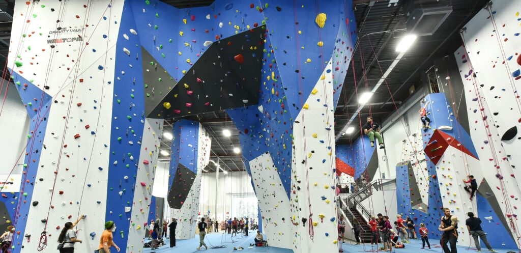 The Gravity vaults rock climbing gym in NYChas loads of tall walls with enough top ropes to satisfy anyone before the next reset