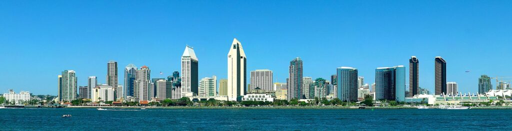 a panorama view of san diego with the water which is great for  kayaking in san diego