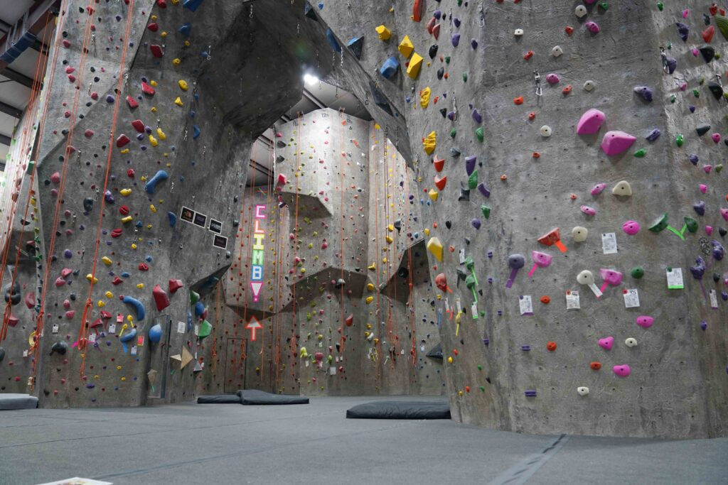 This rock climbing wall located in NYC  is old school textured before people realized that no one likes having rough textured walls that steal all the skin off your knees