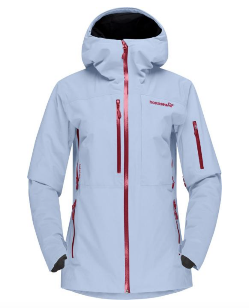 Best women's ski jackets: light blue Norrøna Lofoten Gore-Tex Pro