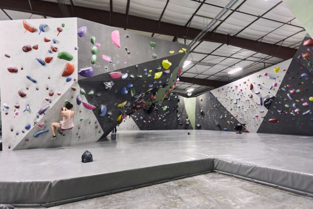 Black Rock Bouldering Gym with slabs and overhangs so anyone can rock climb