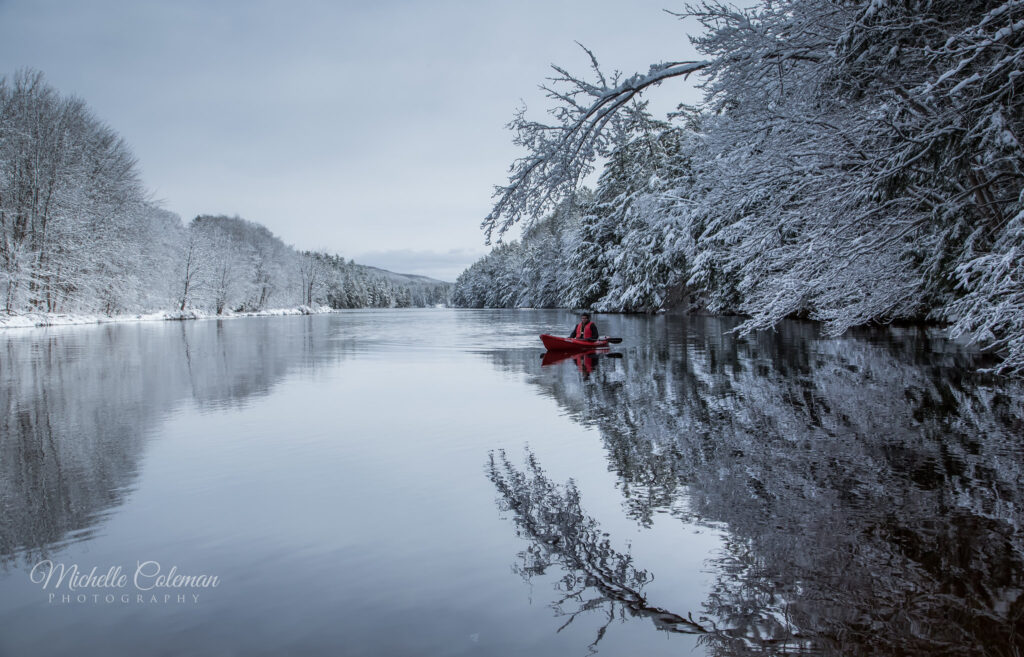 snow covered lake perfect for some cold weather kayaking
