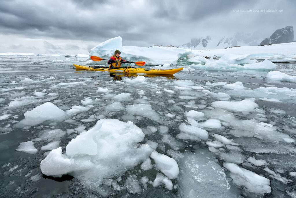 cold weather kayaking between ice caps