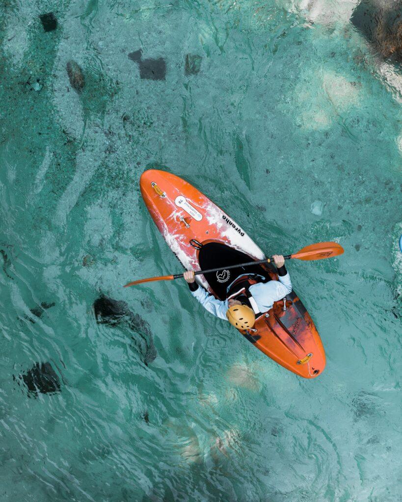 a kayaker in the ocean