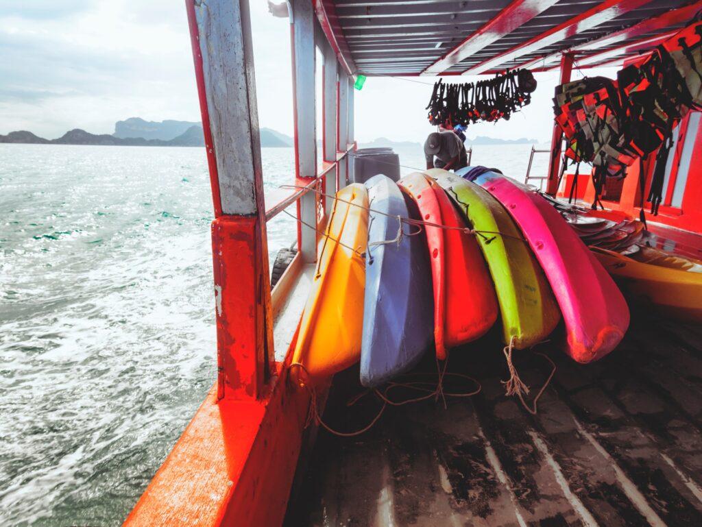 Various colorful kayaks